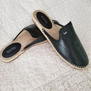 Michael Kors Black Leather & Jute Mules NWT